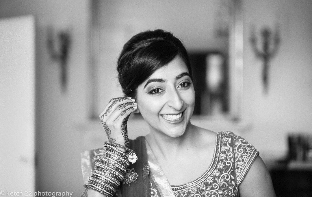Black and white portrait of bride during preparations