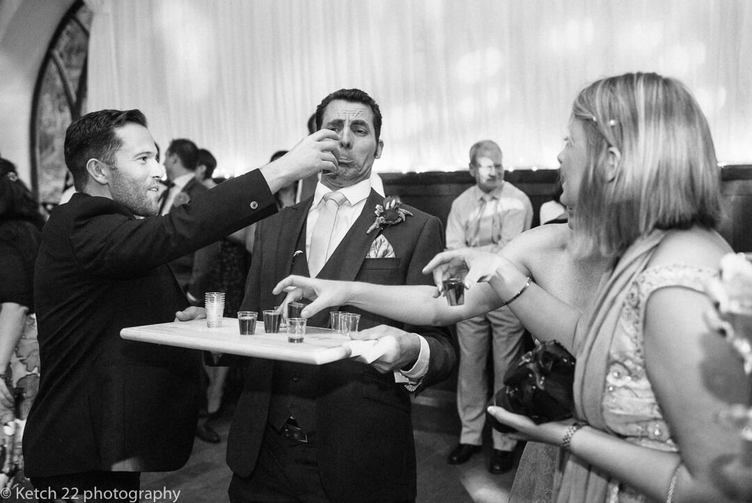 Just a few too many shots for groom at wedding reception