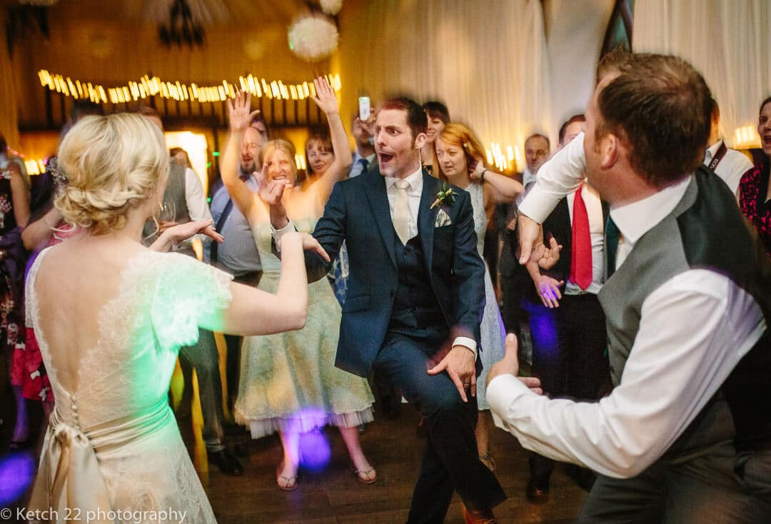 Groom dancing like a demon at Herefordshire wedding