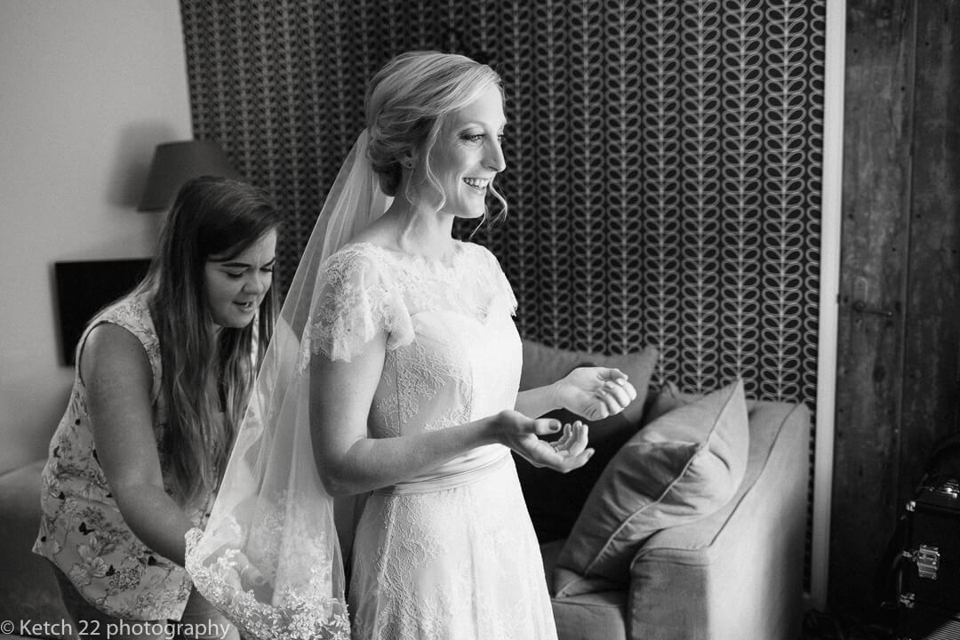 Bride getting ready at wedding