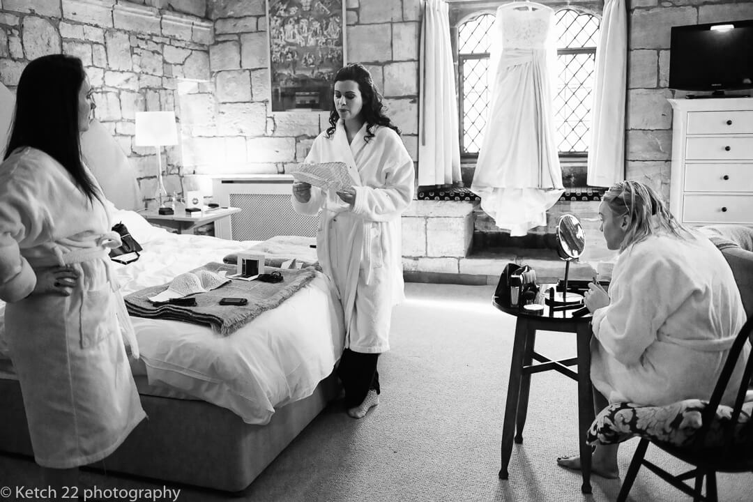 Bride getting ready for wedding at Brinsop Court