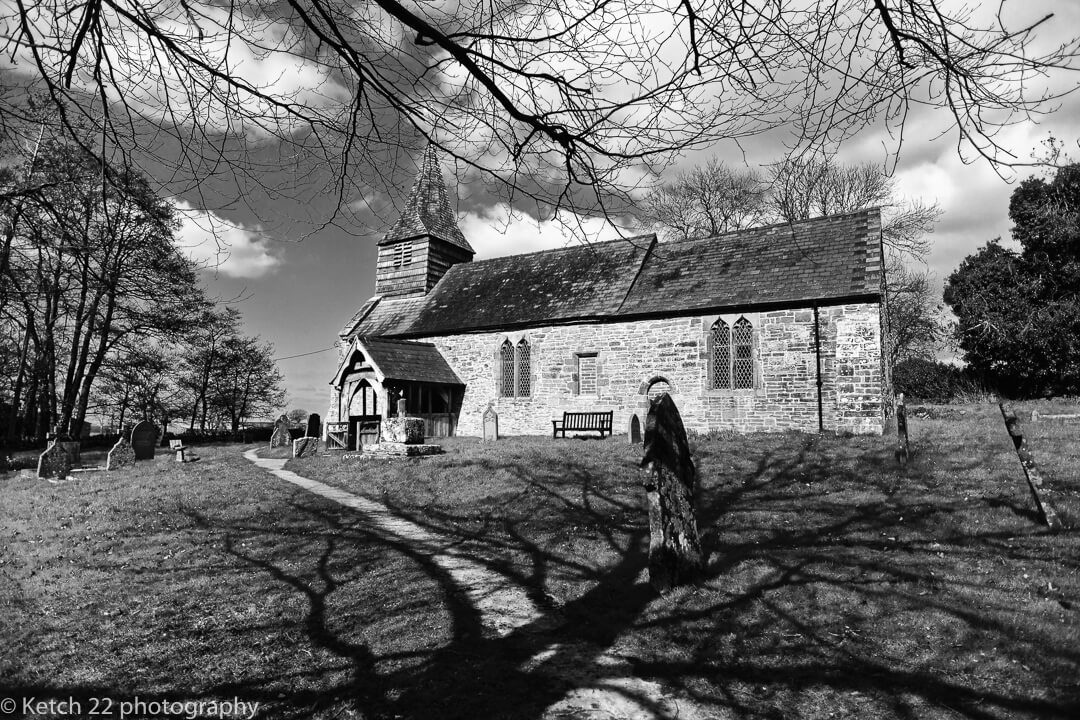 Black and white photo of Church at Dewsall Court