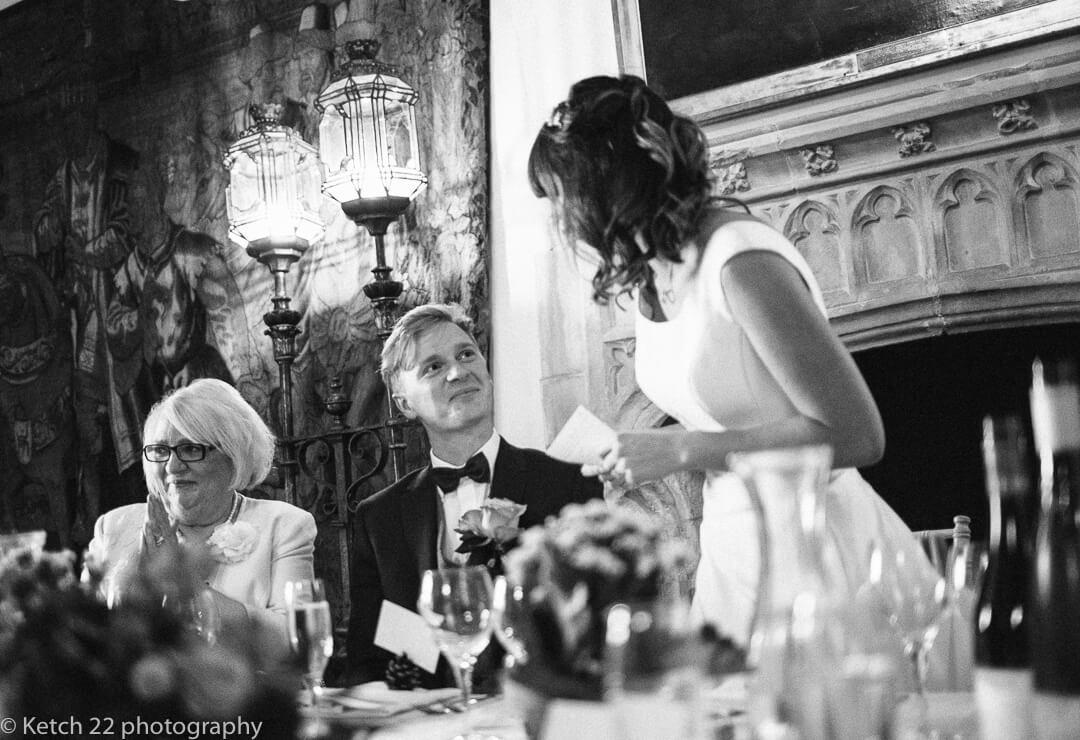 Bride making wedding speech