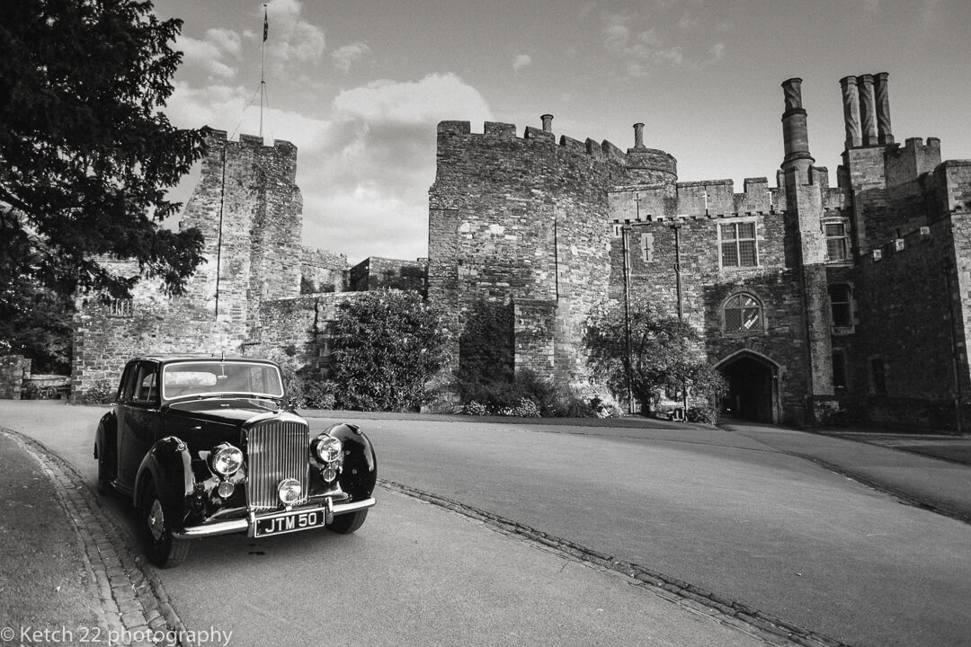Wedding car parked in front of Berkeley Castle