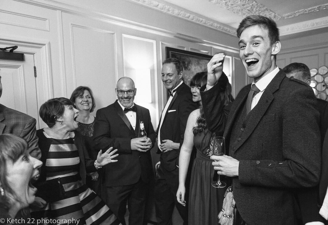 Wedding guests reacting to magician at Foxhall Manor