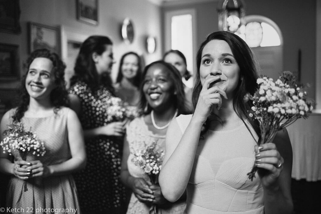 Bridesmaids watching bride at Country House wedding