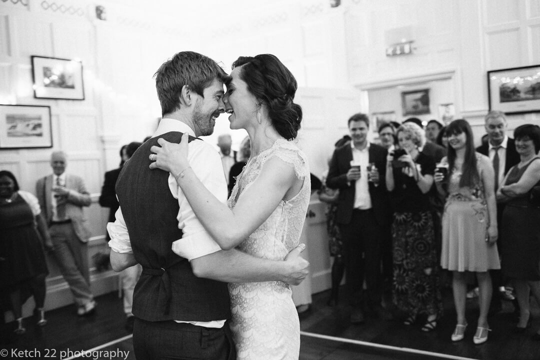 Bride and groom get intimate at first dance