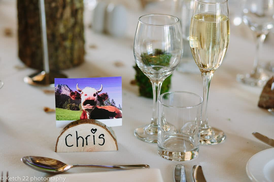 Detail of place setting at Barn wedding