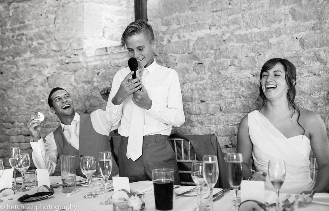 Page boy gets in a muddle at wedding speeches