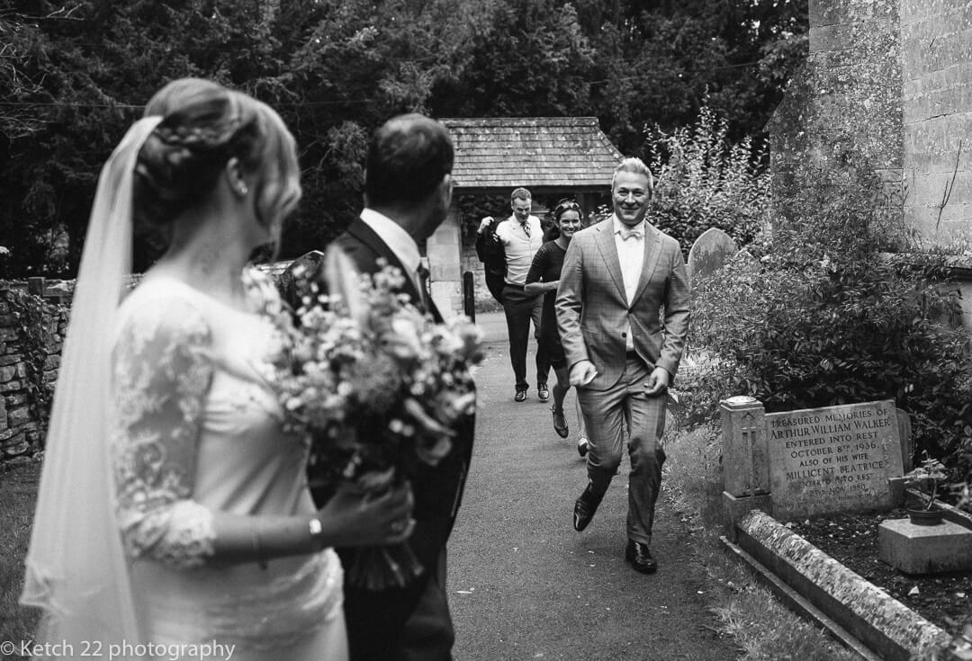 Wedding guests arriving late in Gloucestershire