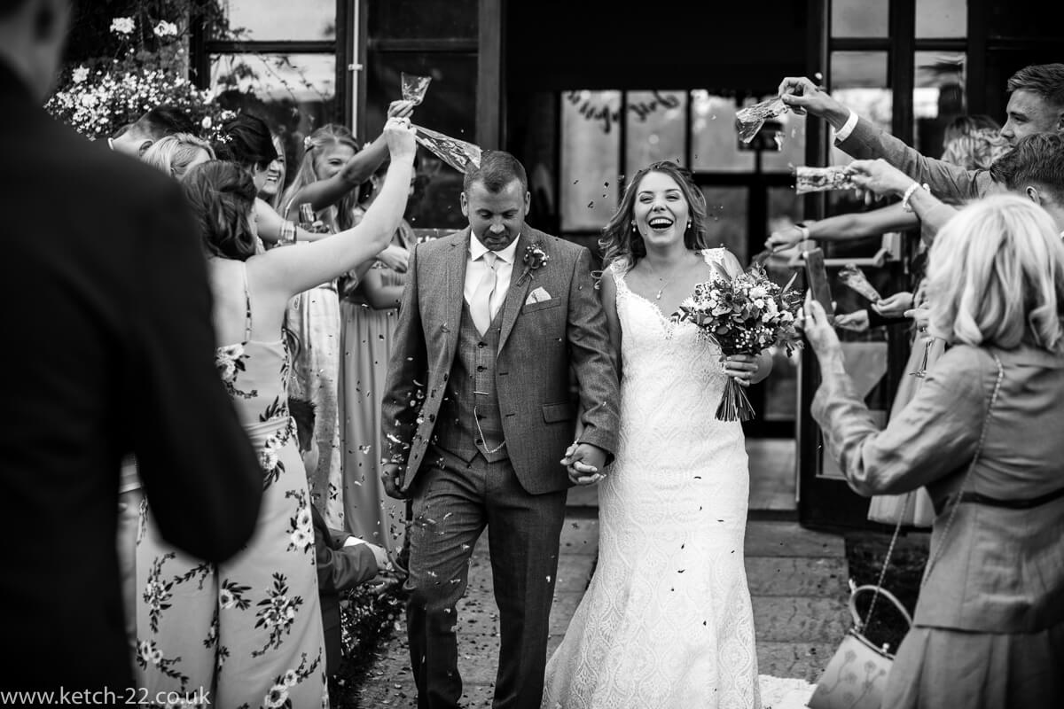 Confetti photo for weddings at the Great Tythe Barn