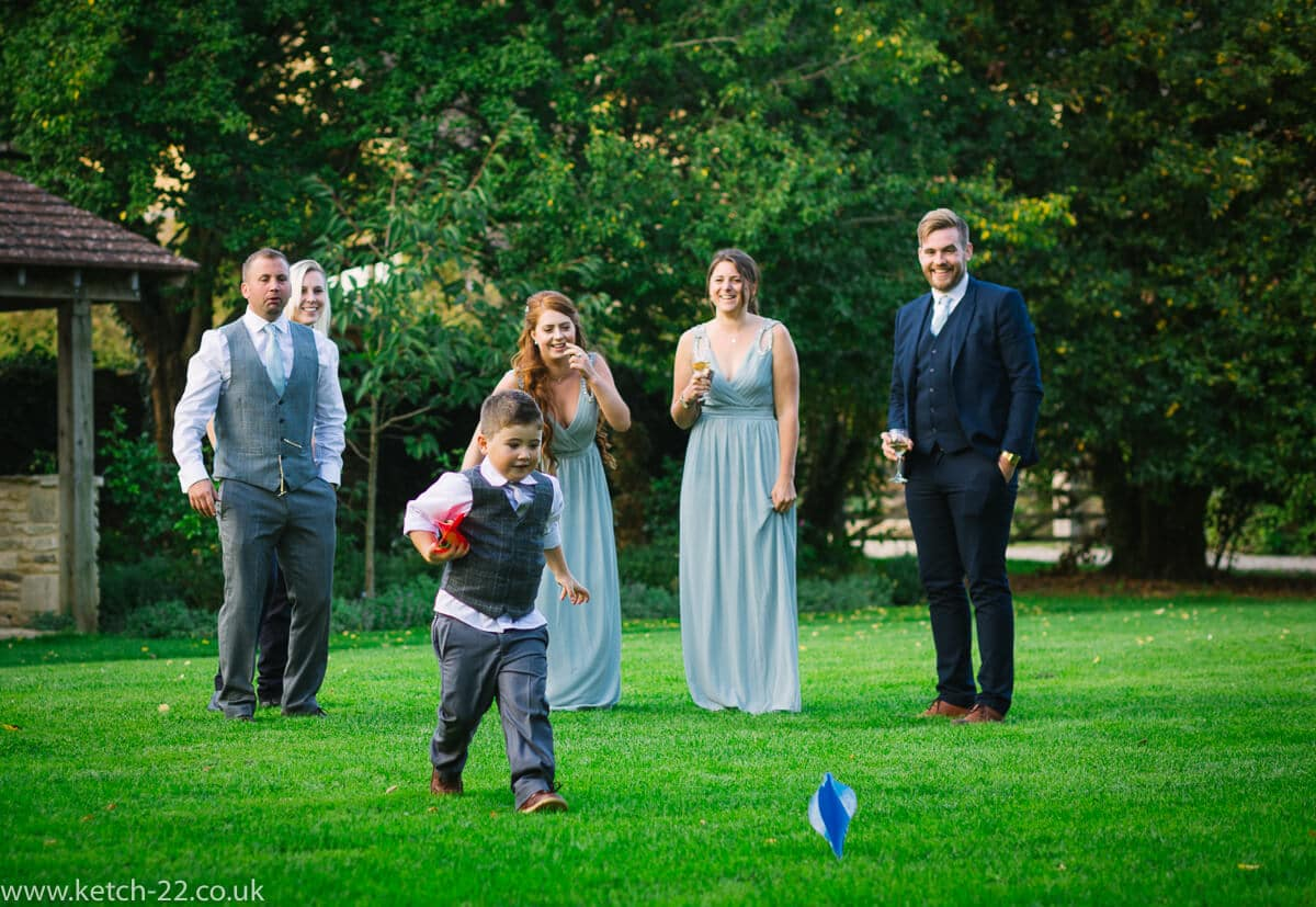 Garden games at great Tythe Barn Wedding
