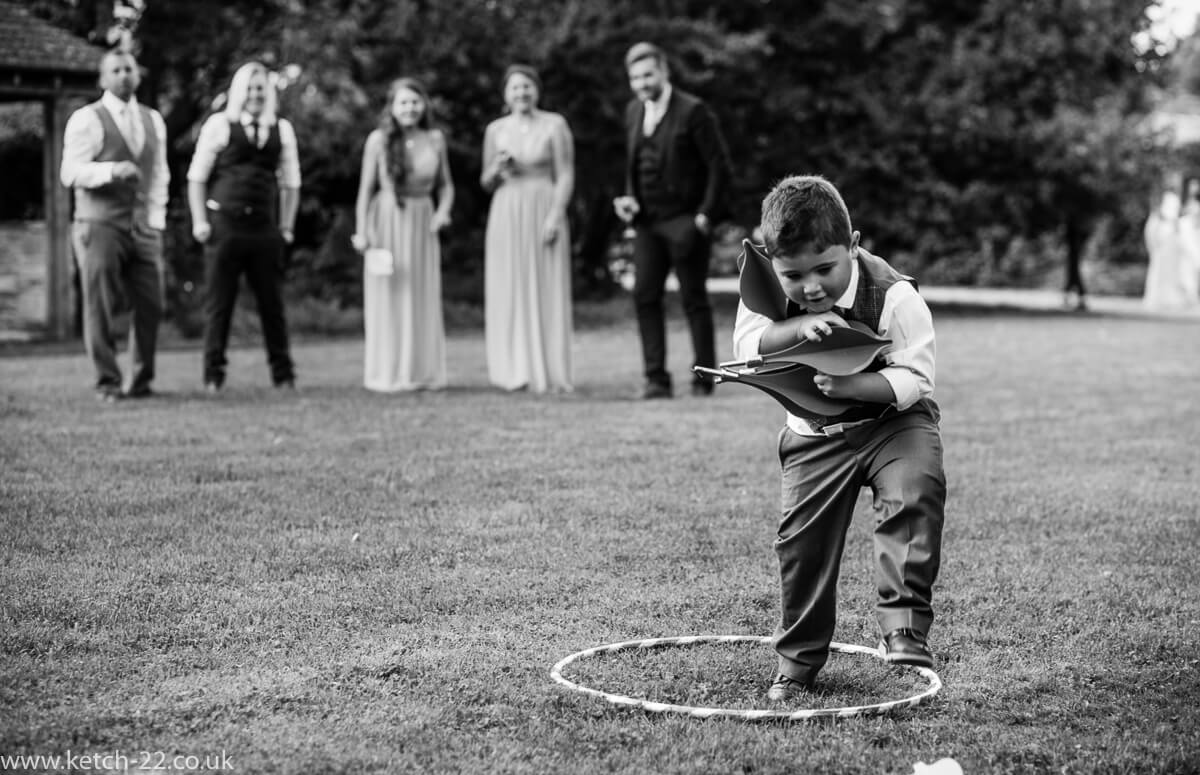 Page boy gathers toys at Tetbury wedding