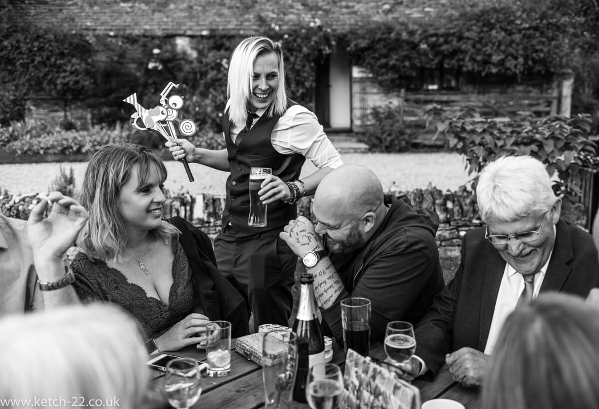 Laughter and fun with wedding guests