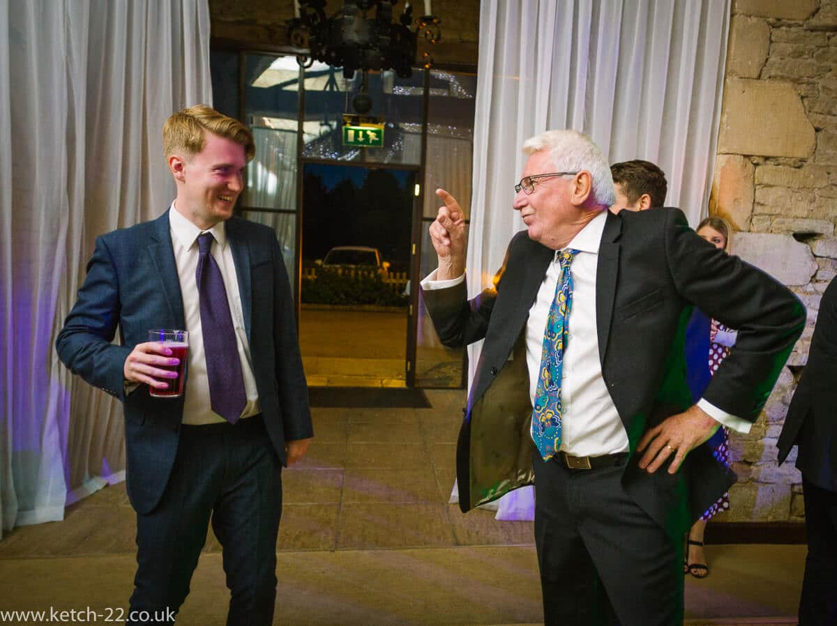 Strange antics by wedding guests on the dance floor