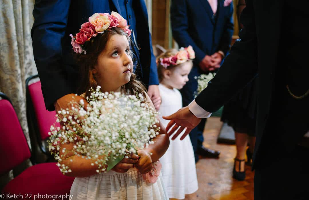 Flower girl with white wild flowers