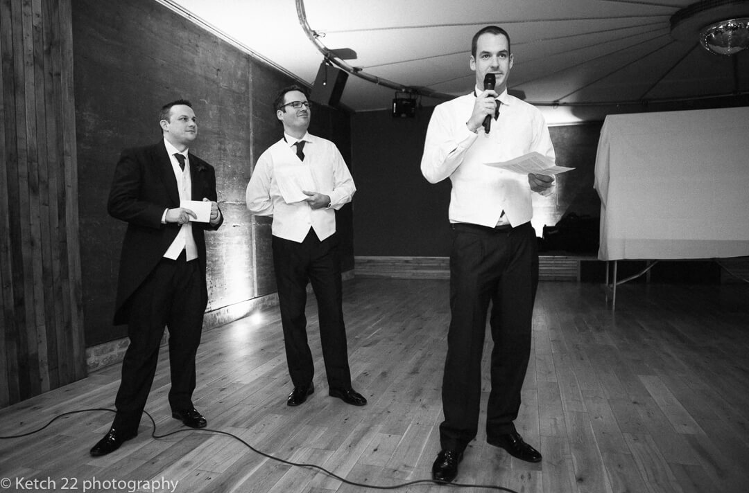 Best men making wedding speech in Gloucestershire