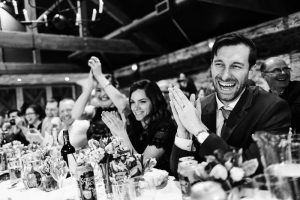 wedding guests cheering at speeches Cheltenham