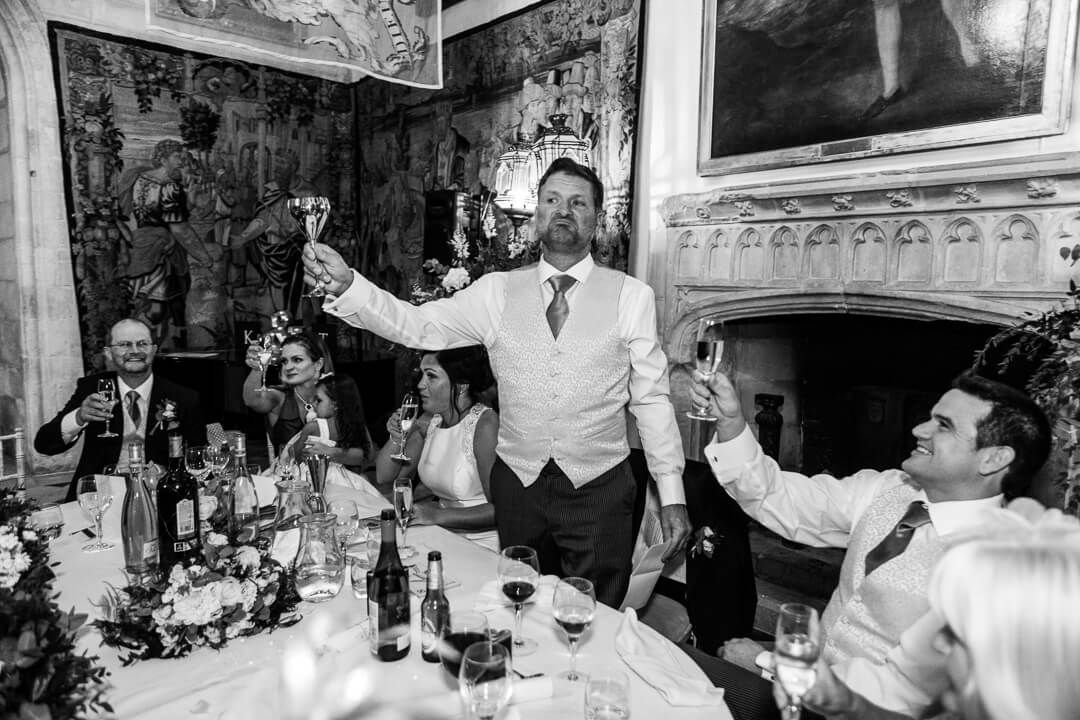 Groom toasting at speeches
