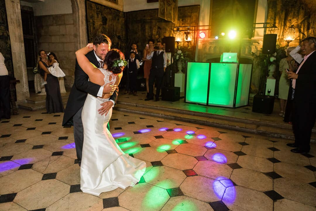 Newly weds enjoy first dance at Castle wedding