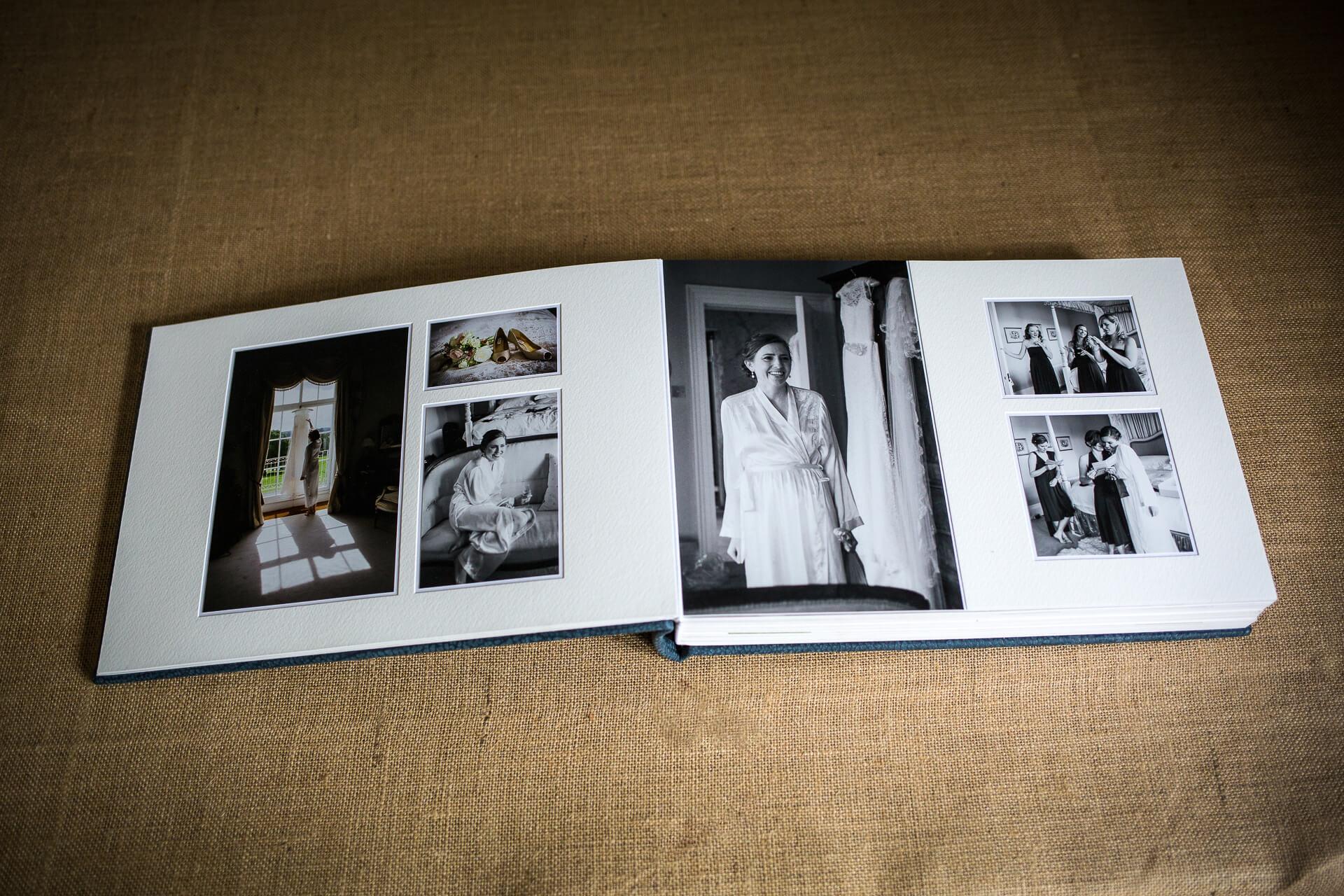 Double page spread of wedding album
