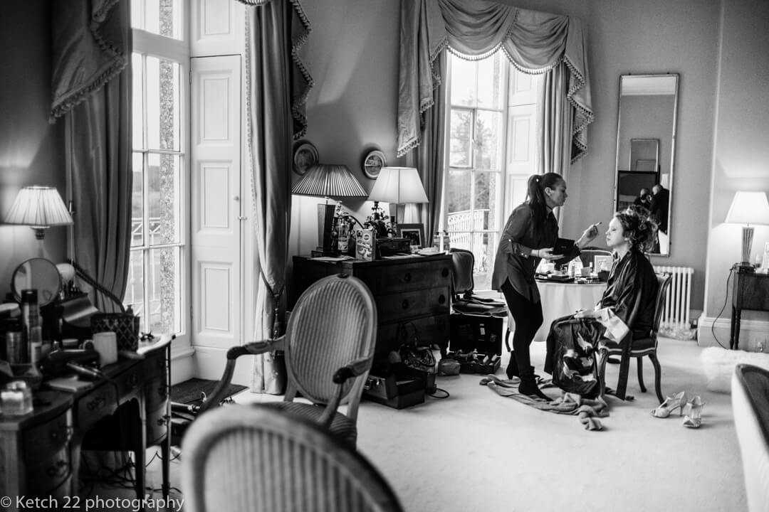 Reportage wedding photography of bride getting ready at North Cadbury Court