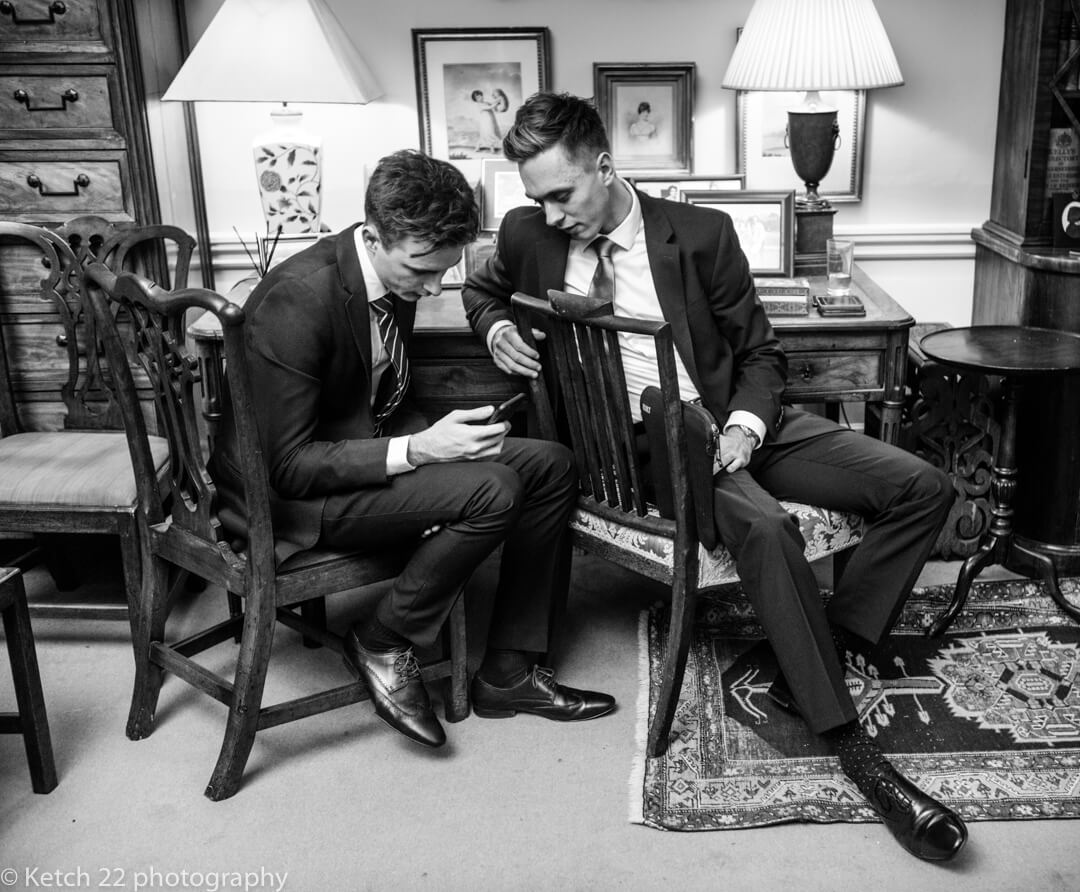Two smartly dressed teenage boys at wedding
