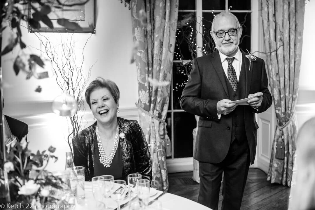 Father of bride making speech at Winter wedding