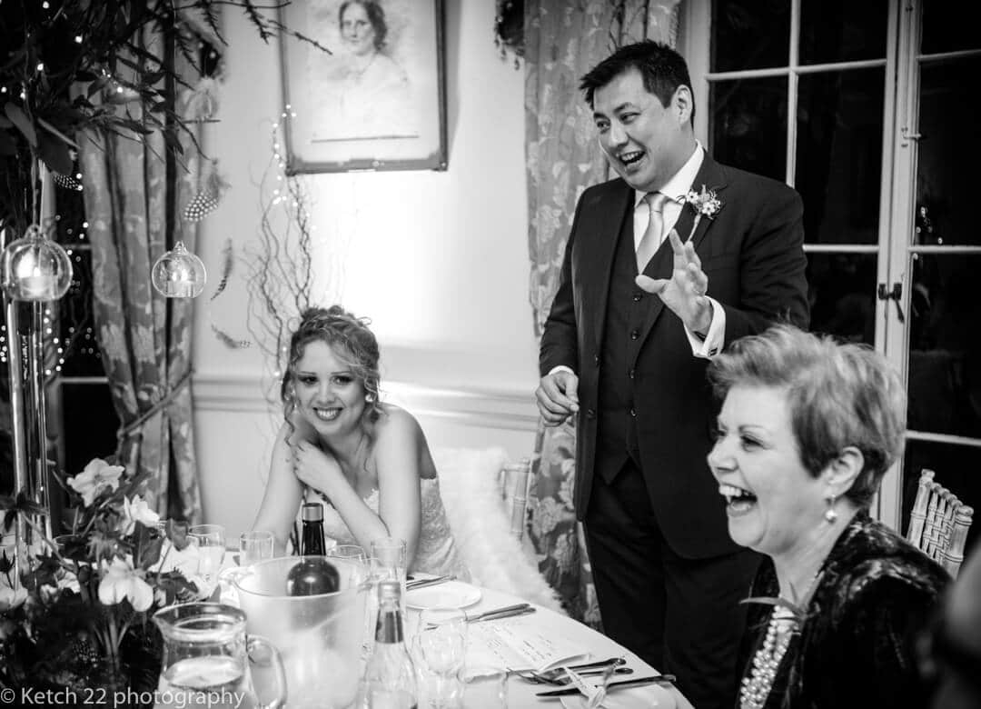 Groom making speech at Country house wedding