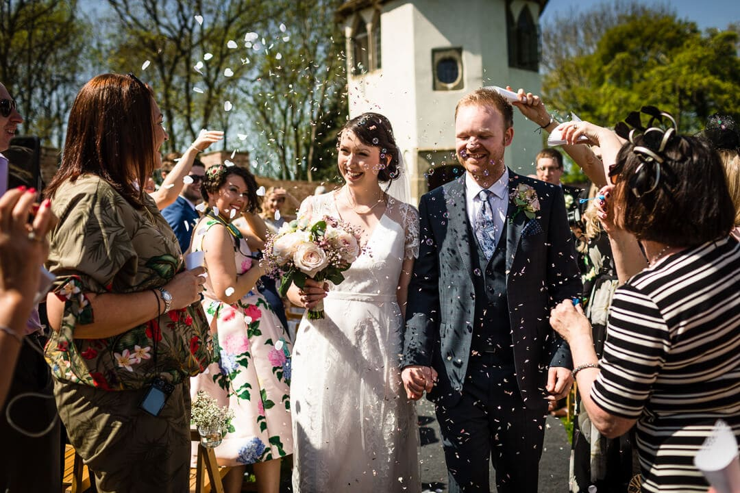 Confetti throwing at Homme House wedding