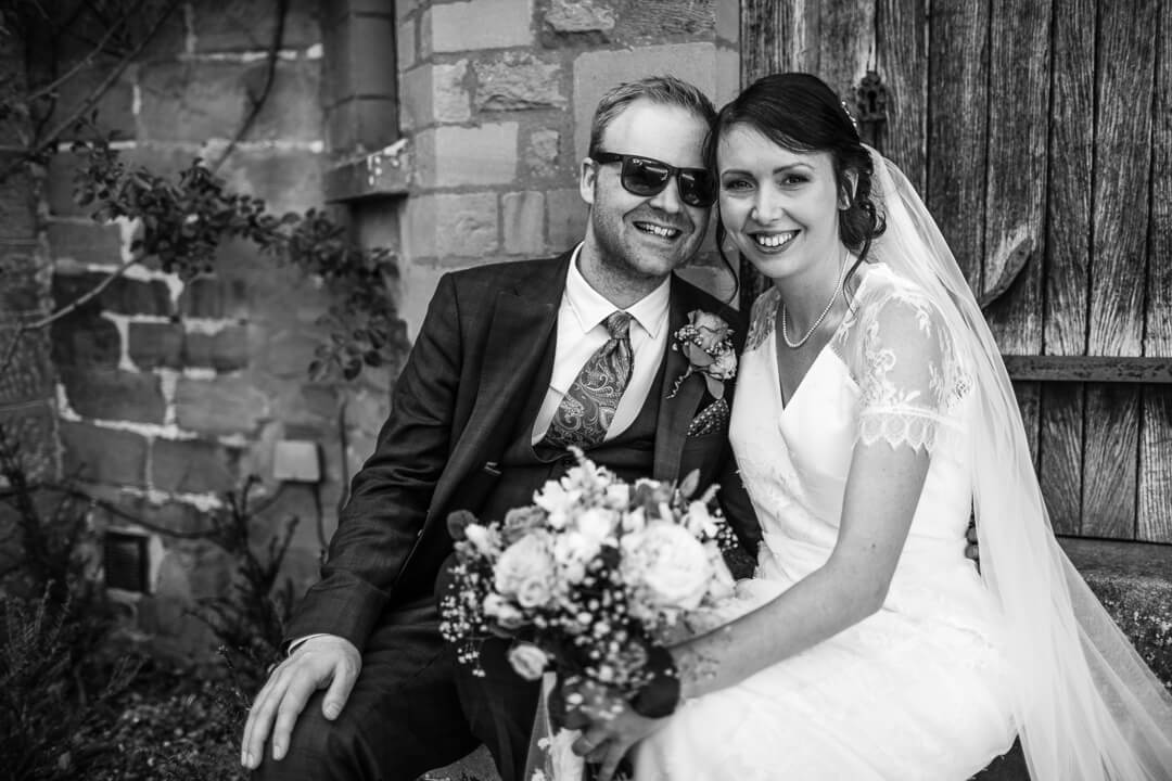 Creative portrait of bride and groom at herefordshire wedding