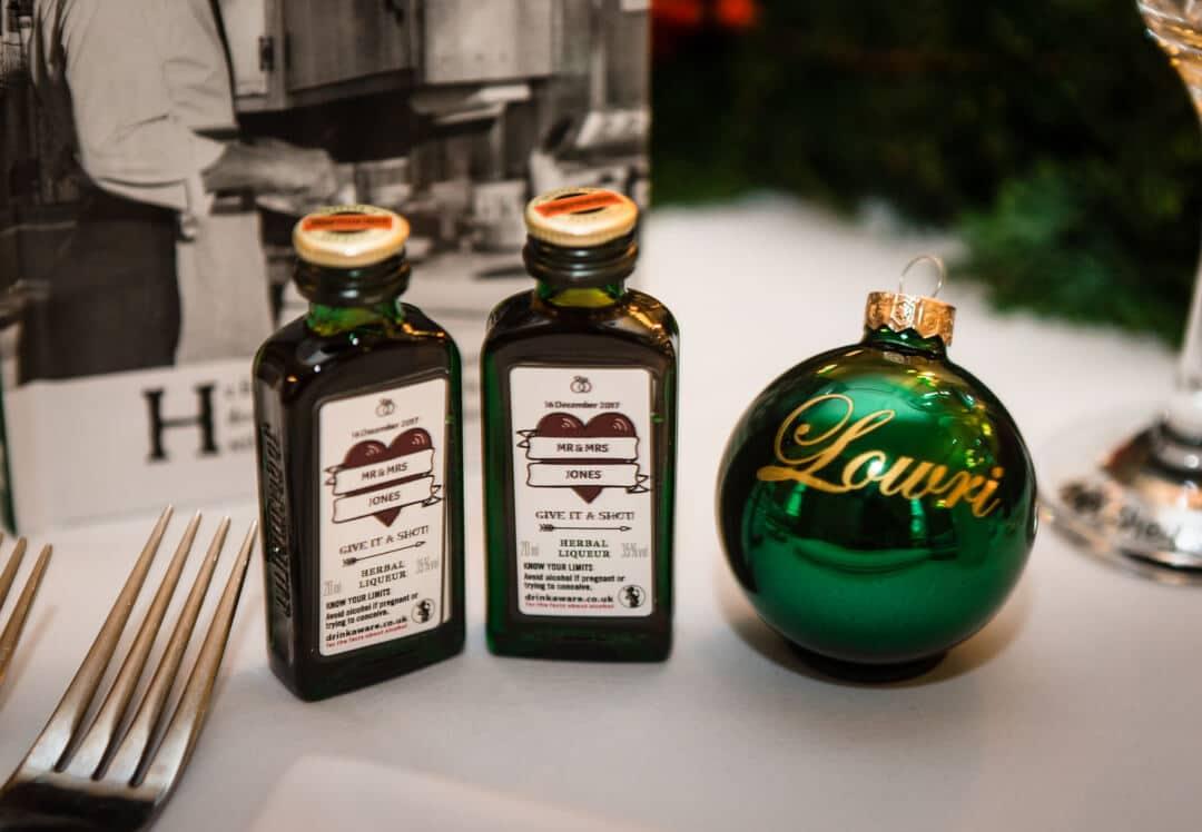 Detail wedding photo of shot bottles