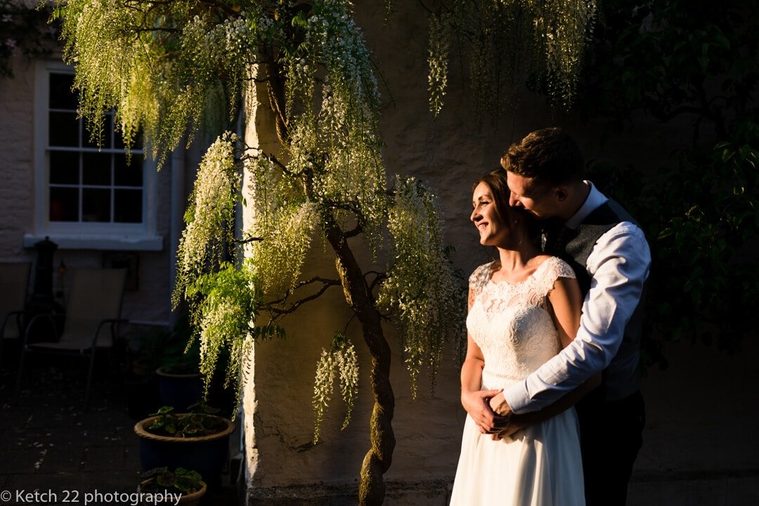 portrait of bride and groom at marquee wedding