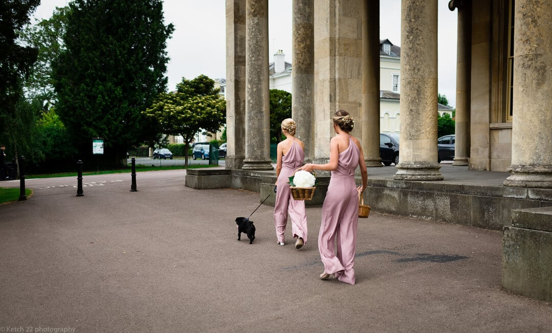 Bridesmaids in pink with black dog at Cheltenham wedding
