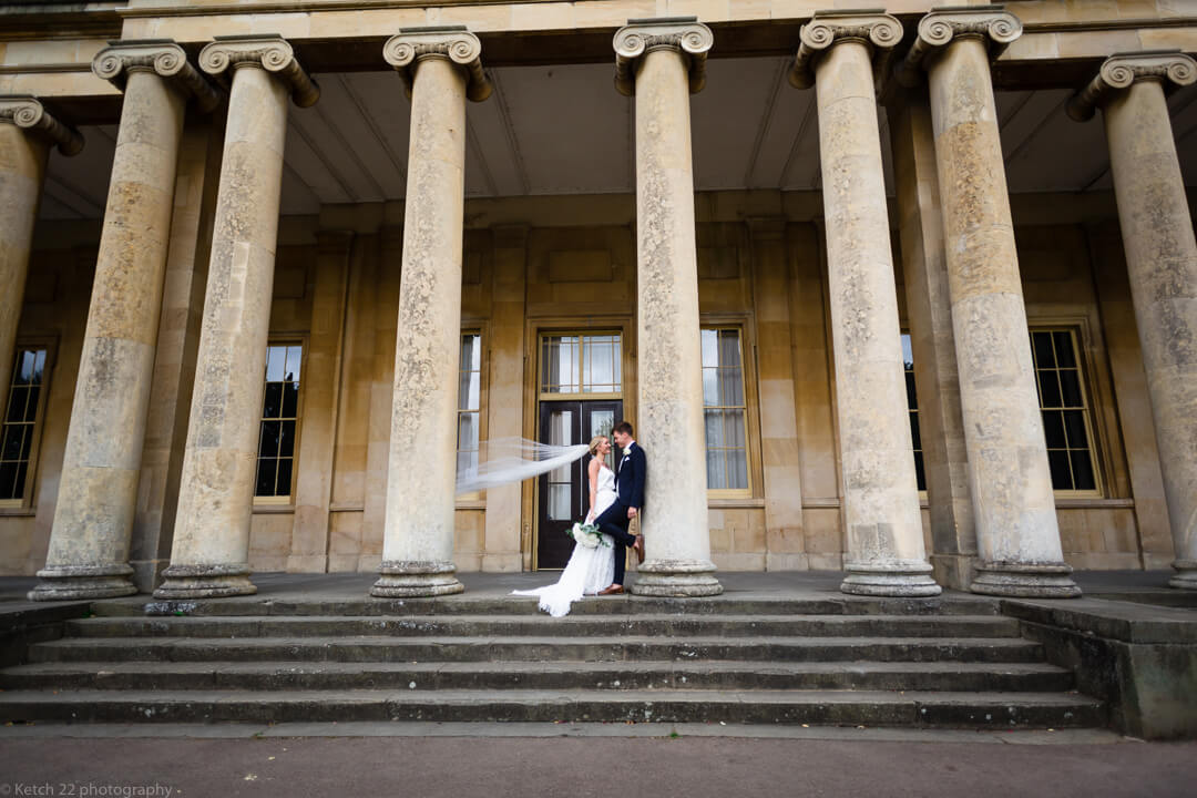 Bride and groom at Pitville Pump rooms Cheltenham