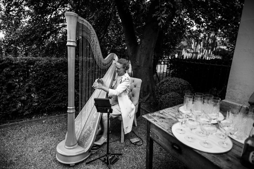 Harp player at No 38 wedding Cheltenham