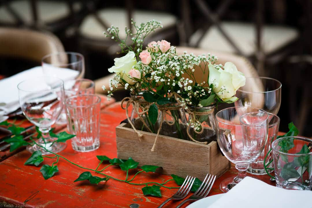 Wedding table detail at No 38