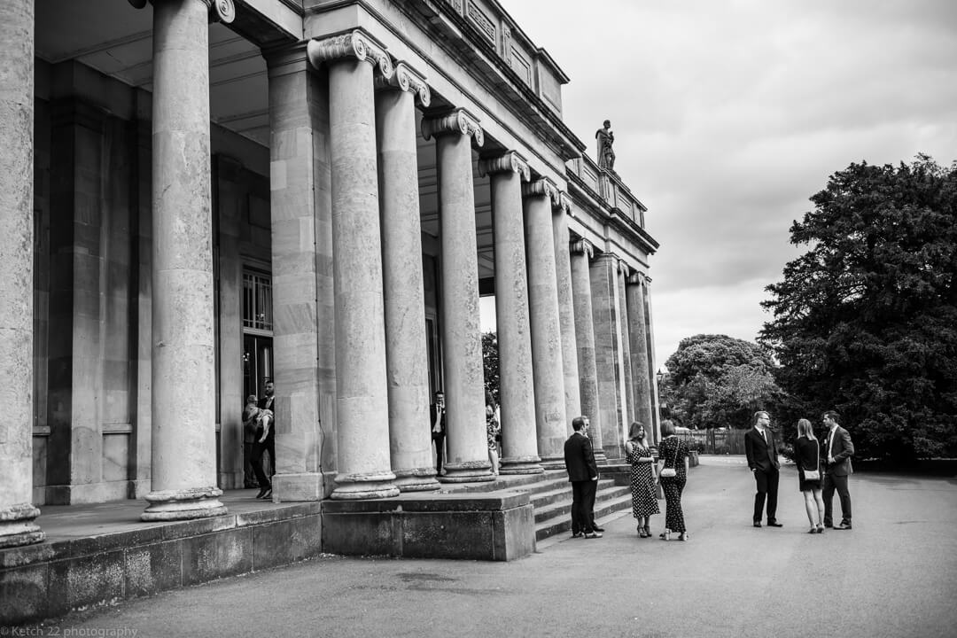 Wedding guests at Pittville pump rooms Cheltenham