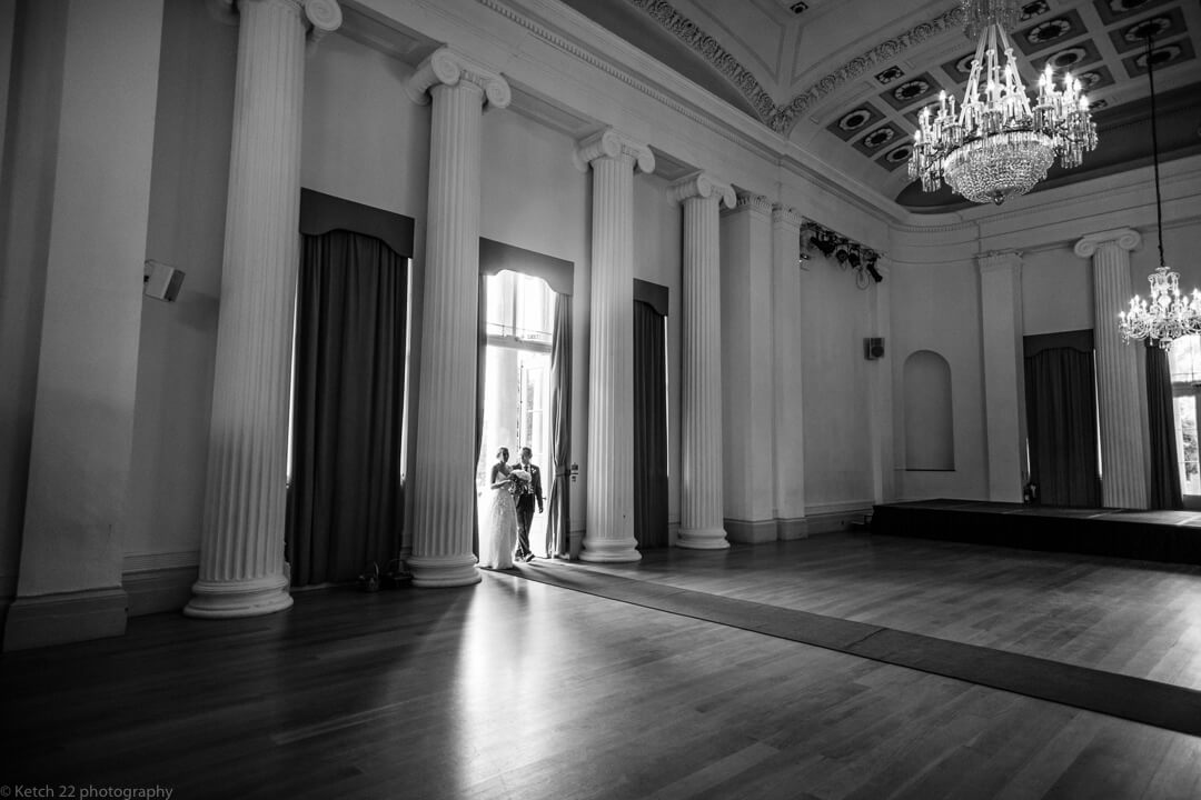 Bride arriving at wedding ceremony at Pittville pump rooms