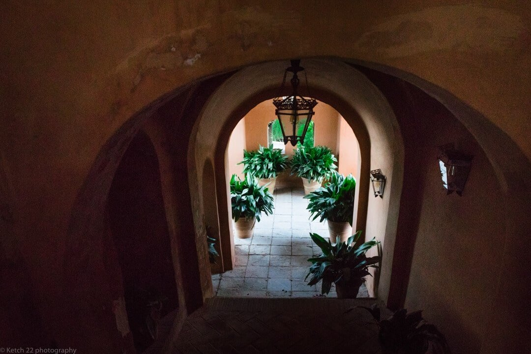 Hall way with plants at Malaga Wedding venue