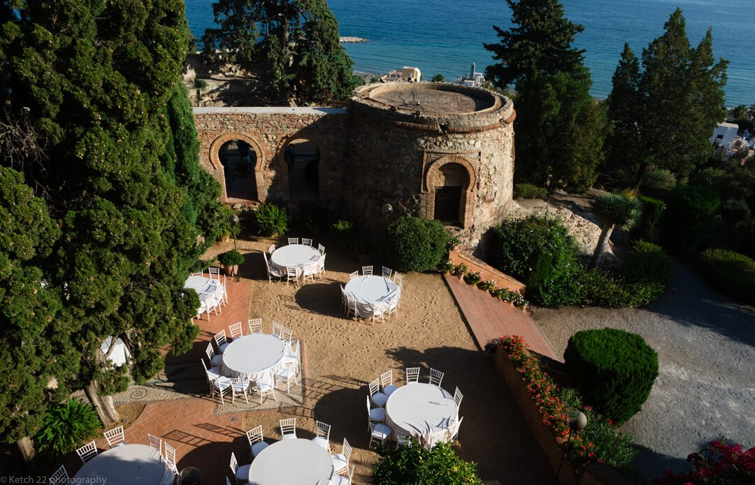 Aerial view over Castillo de Santa Catalina Wedding venue