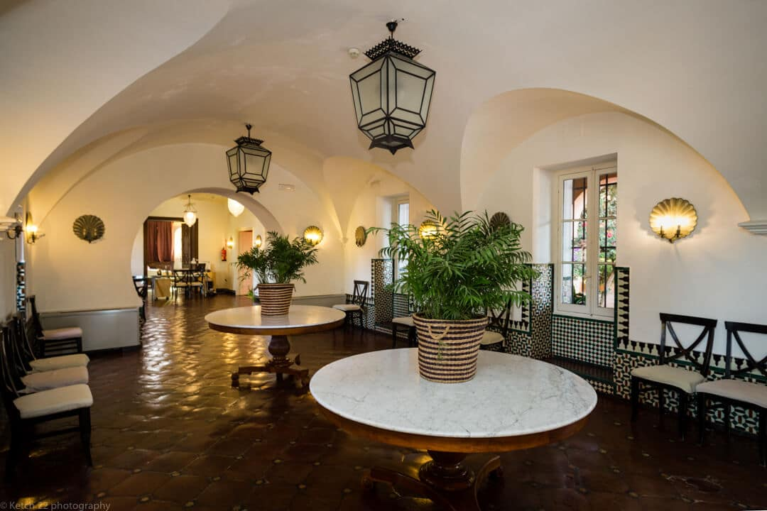Wedding venue hall way with Moorish decor at Castillo de Santa Catalina
