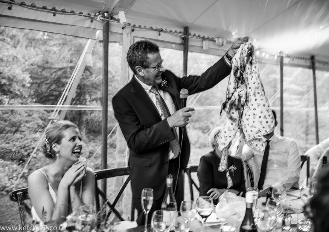 Father making a speech at wedding