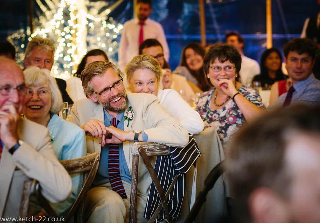 Wedding guests listening to speechs