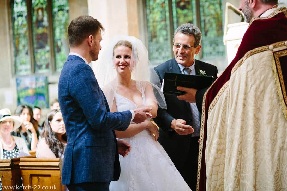 Father gives away his daughter at church wedding
