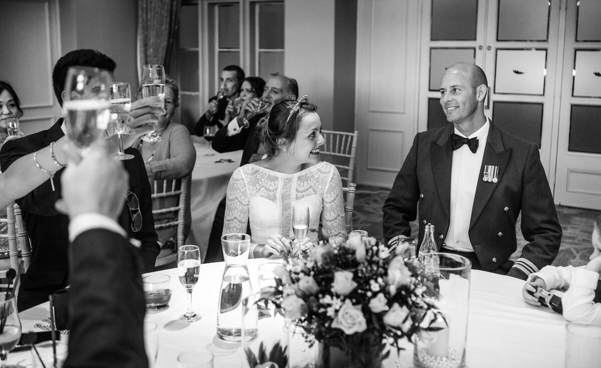 Bride and groom get toasted at wedding speeches