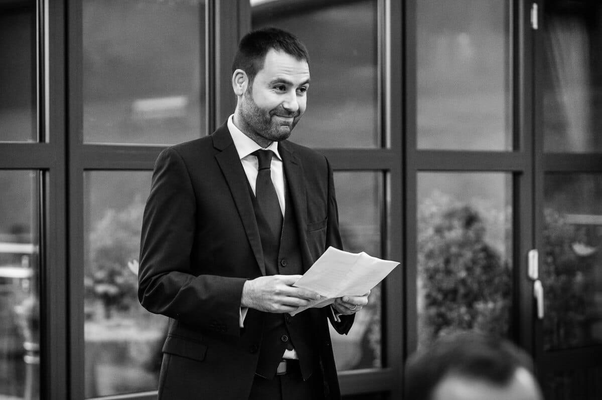 Best man making speech at De Vere Latimer estate wedding