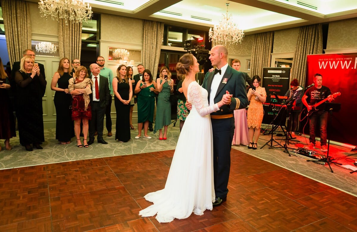 Bride and groom enjoy first dance