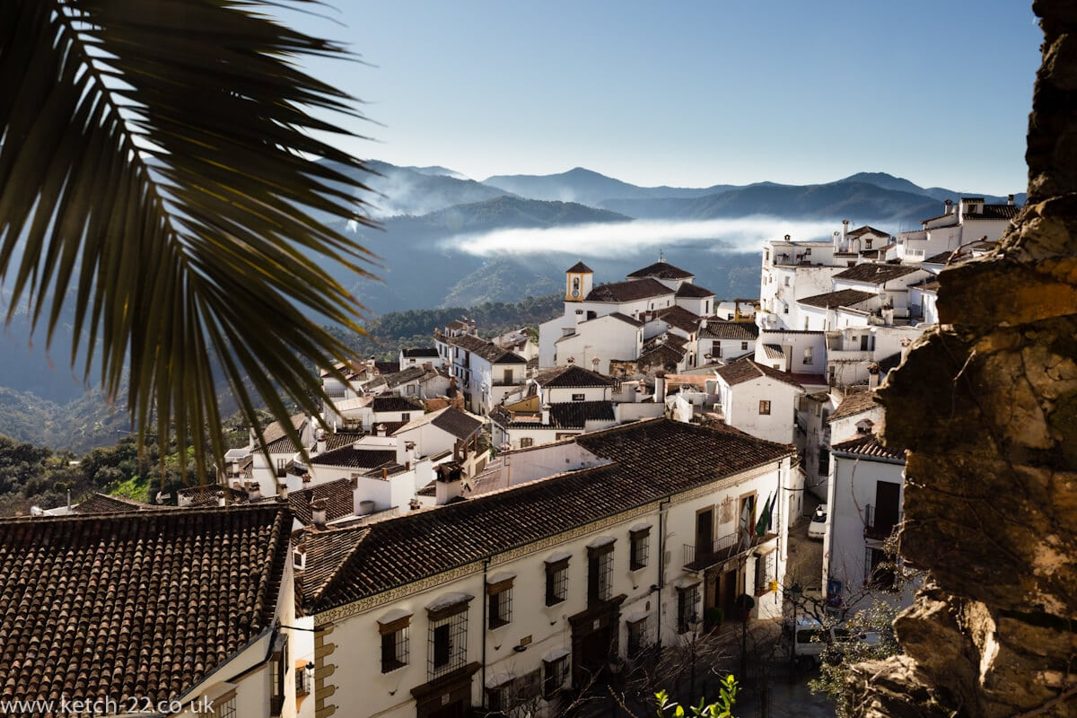 Early morning view with mist of village of Benalauria in Spain