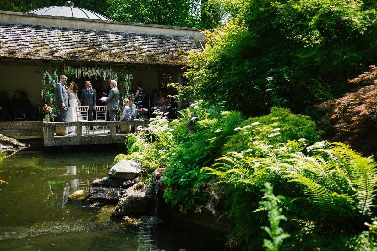 View over gardens and ponds at Matara Centre wedding ceremony